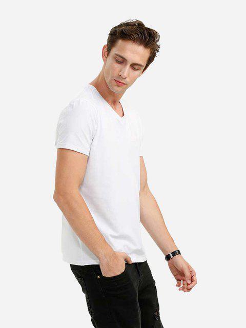 T-Shirt de Gola de V - Branco L Mobile