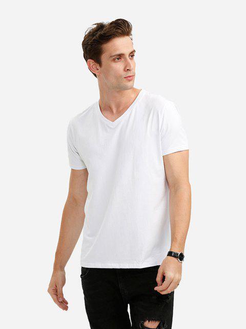 T-Shirt de Gola de V - Branco M Mobile