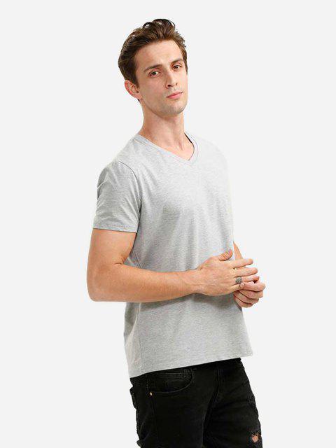 Camiseta con Cuello en V para Hombre - Gris Claro XL Mobile