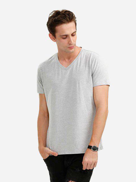 V-Ausschnitt T-Shirt - Hellgrau XL Mobile