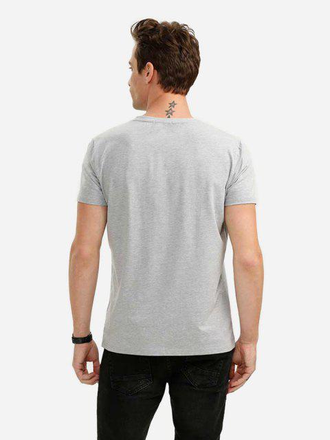 fashion ZAN.STYLE V-neck Tee - LIGHT GRAY XL Mobile