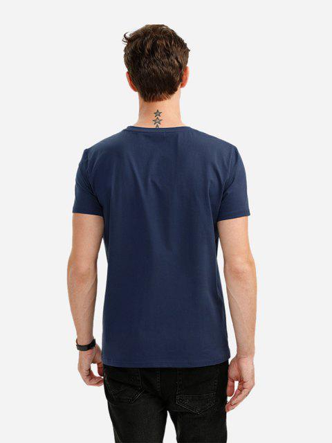 Camiseta con Cuello en V para Hombre - Azul Profundo XL Mobile