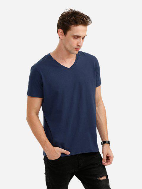 Camiseta con Cuello en V para Hombre - Azul Profundo M Mobile