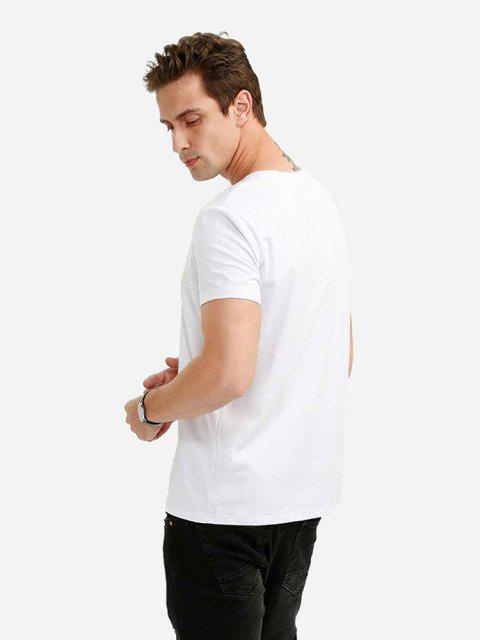 Camiseta con Cuello en V para Hombre - Blanco 2XL Mobile