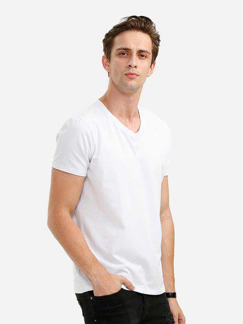 T-Shirt à Col en V - Blanc XL Mobile