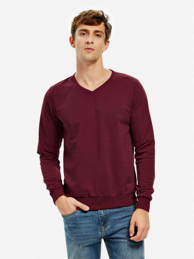 ZAN.STYLE Long Sleeve V Neck Sweatshirt - Dark Red Xl