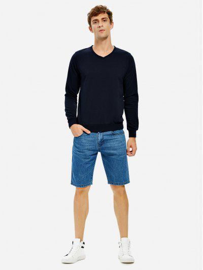 ZAN.STYLE Long Sleeve V Neck Sweatshirt - Deep Blue M