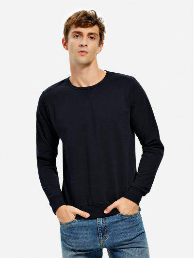 ZAN.STYLE Crew Neck Sweatshirt - Deep Blue M