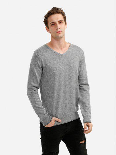 V-neck Cotton Blend Knitwear - Gray L