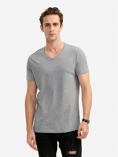 V-neck T Shirt - Gray L