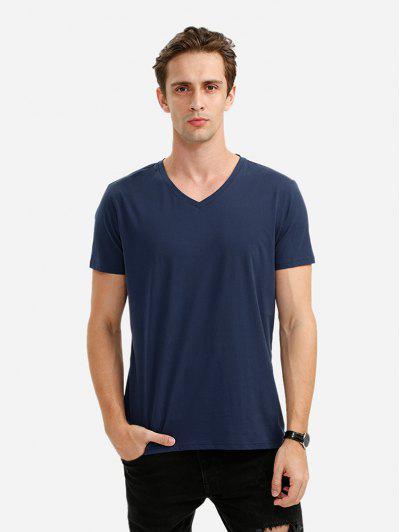 Männer V Ausschnitt Weißes T Shirt - Tiefes Blau Xl