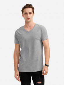 T-Shirt Avec Col En V  - Gris Xl