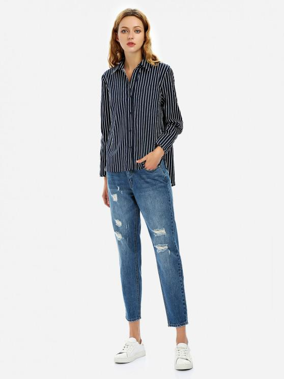 buy ZAN.STYLE Loose Fit Collar Blouse - PURPLISH BLUE XL