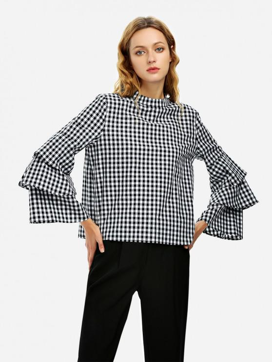 womens ZAN.STYLE Bell Sleeve Plaid Blouse Shirt - BLACK AND WHITE XL