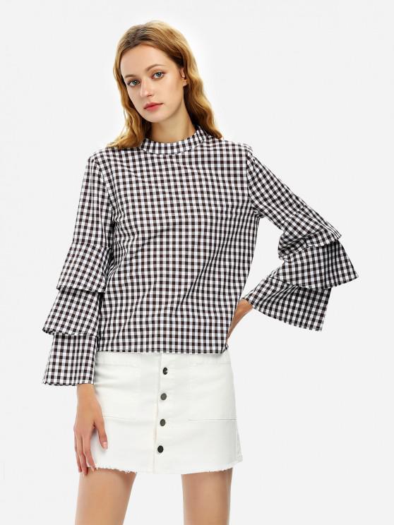 الأكمام بلوزة قميص بلوزة منقوشة - WHITE AND COFFEE XL