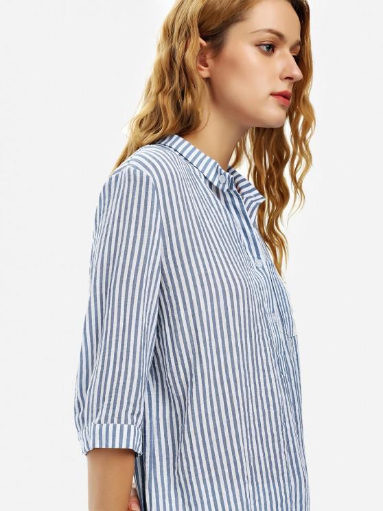ZAN.STYLE Blouse Shirt - Blue Stripe Xl   ZAFUL