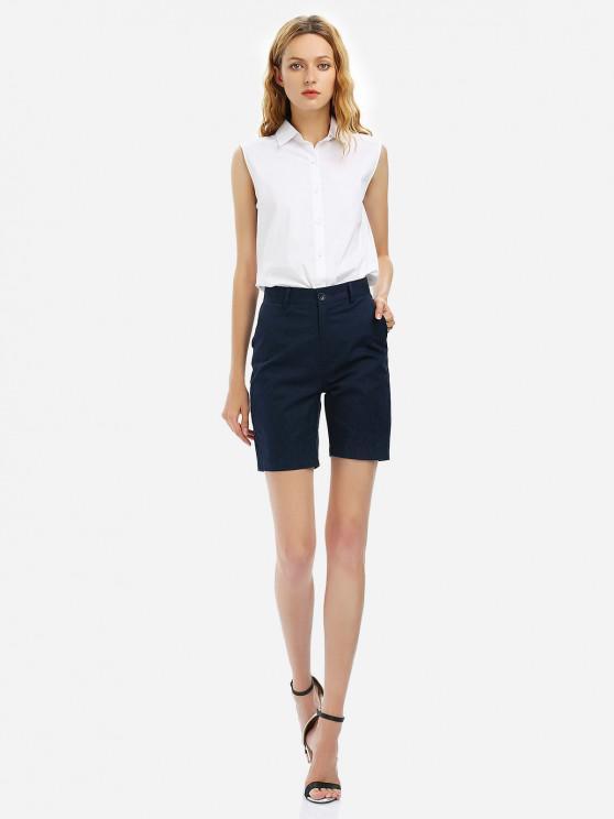womens ZAN.STYLE Cuffed Shorts - PURPLISH BLUE S