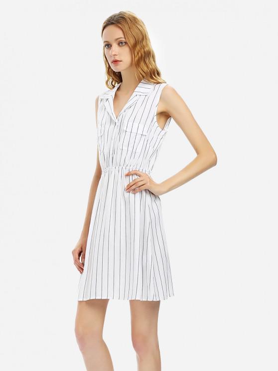 ZANSTYLE Robe Chemise à Rayures sans Manches - Blanc L