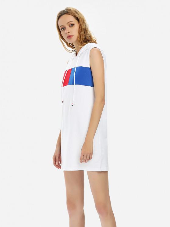بلا أكمام اللباس مقنعين - أبيض L