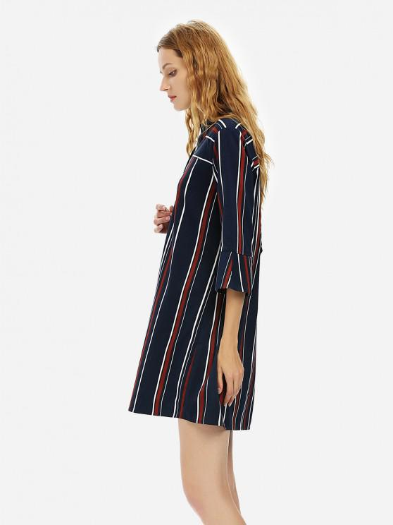 hot ZAN.STYLE V Neck Shirt Dress - BLUE STRIPE XL