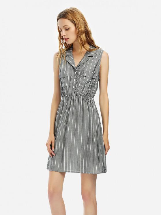 Полосатое платье рубашка без рукавов - Серый S