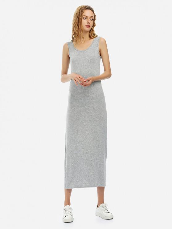 shop ZAN.STYLE Crew Neck Sleeveless Dress - HEATHER GRAY S