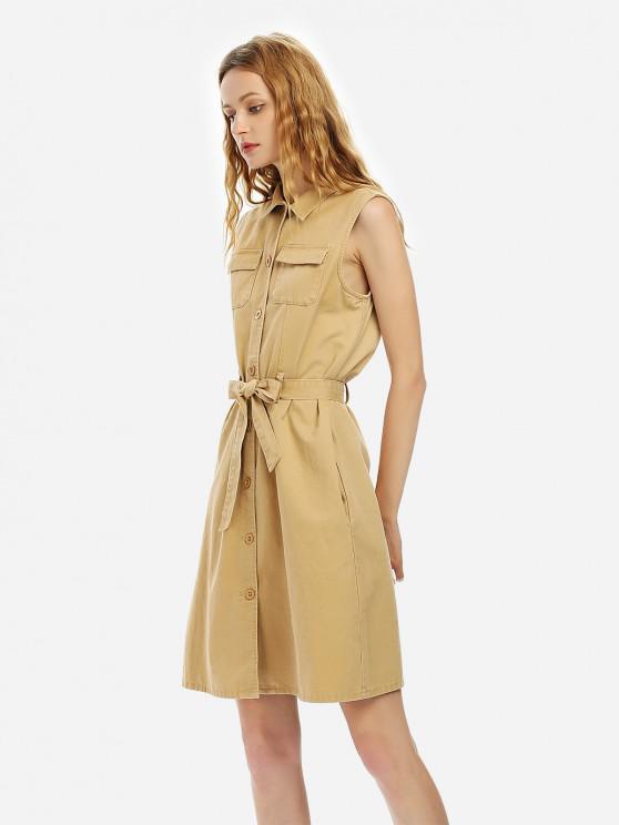 Cinturão Vestido Sem Mangas - Cor de Caqui XL