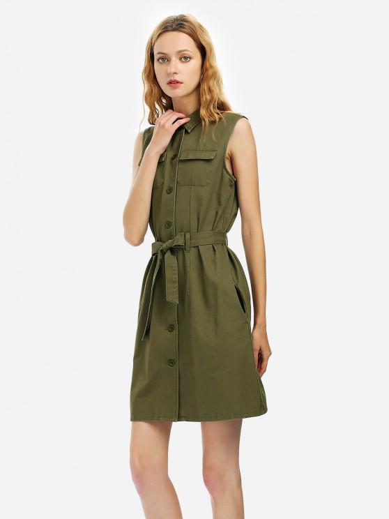 lady Belted Waist Sleeveless Shirt Dress - ARMY GREEN M