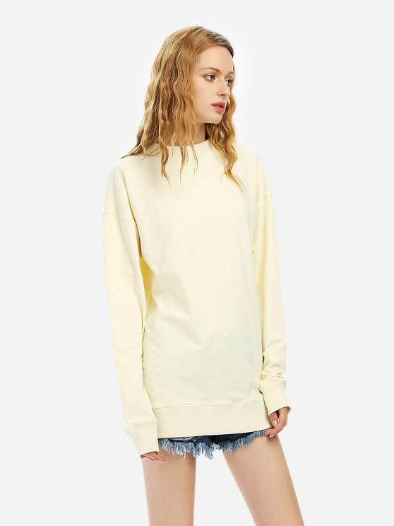 Sweat-Shirt en Molleton Lâche Décontracté - Beige M