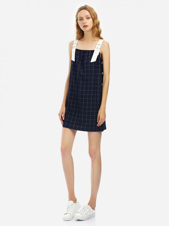 new ZAN.STYLE Sleeveless Plaid Pattern Dress - PURPLISH BLUE L