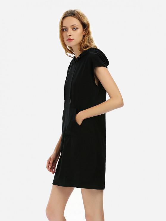 latest ZAN.STYLE Sleeveless Drawstring Dress Hoodie - BLACK L