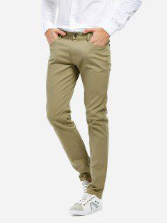 Stretch Strick Slim Fit Hose - Khaki 35