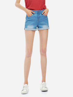 ZAN.STYLE Faded Denim Shorts - Blue M