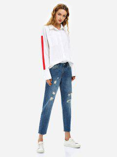 ZAN.STYLE Ripped Ankle Jeans - Blue Xl