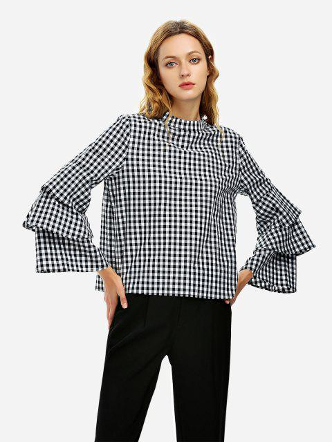 womens ZAN.STYLE Bell Sleeve Plaid Blouse Shirt - BLACK AND WHITE XL Mobile