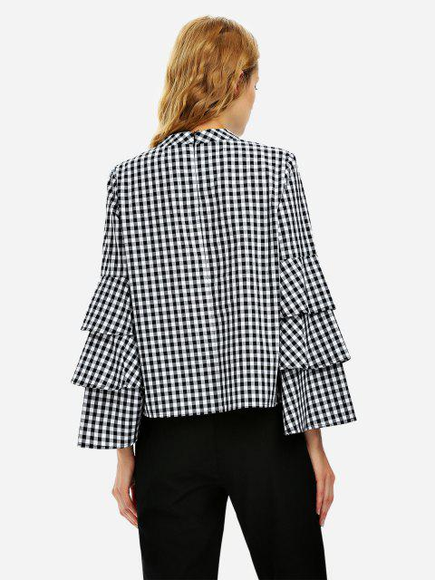 hot ZAN.STYLE Bell Sleeve Plaid Blouse Shirt - BLACK AND WHITE M Mobile
