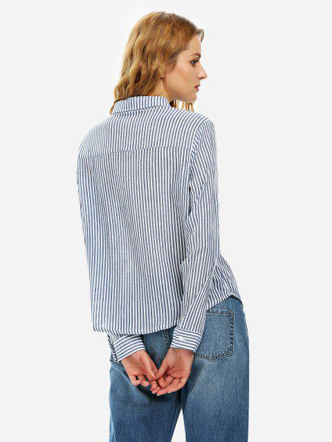 shop ZAN.STYLE Long Sleeve Collar Blouse - NAVY BLUE M Mobile