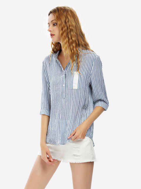 ZAN.STYLE Blouse Shirt - ブルーストライプ L Mobile