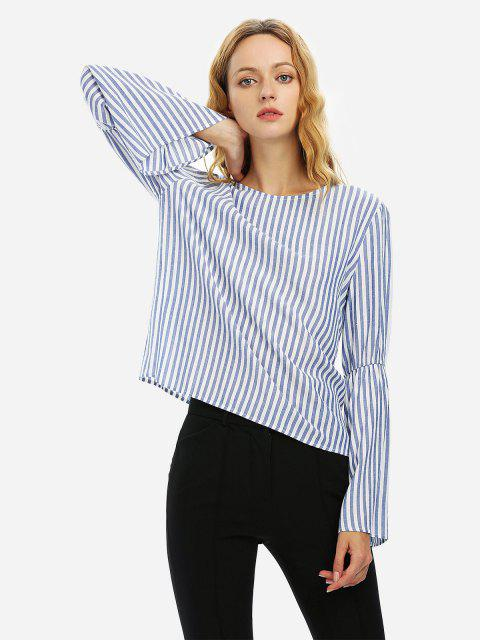 fashion ZAN.STYLE Long Bell Sleeve Striped Blouse Shirt - BLUE WHITE STRIPED XL Mobile
