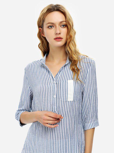 women ZAN.STYLE Blouse Shirt - BLUE STRIPE XL Mobile
