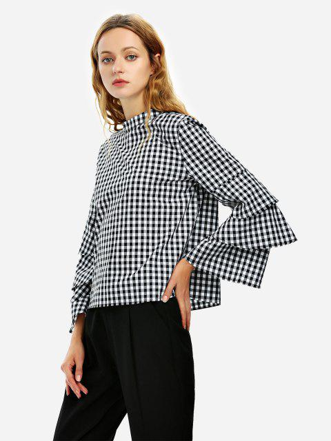 ZAN.STYLE Bell Sleeve Plaid Blouse Shirt - 黑與白 S Mobile