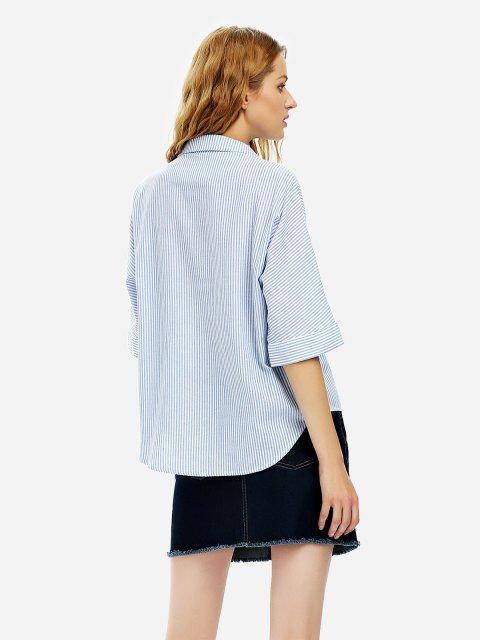 ladies ZAN.STYLE 3/4 Sleeve Collar Blouse - BLUE M Mobile