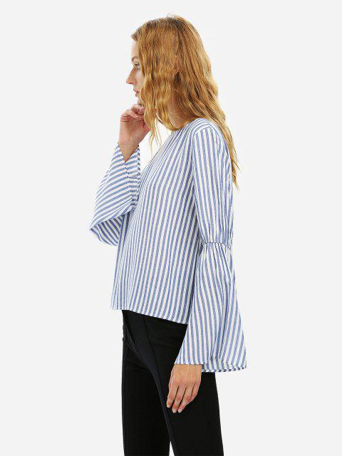lady ZAN.STYLE Long Bell Sleeve Striped Blouse Shirt - BLUE WHITE STRIPED M Mobile