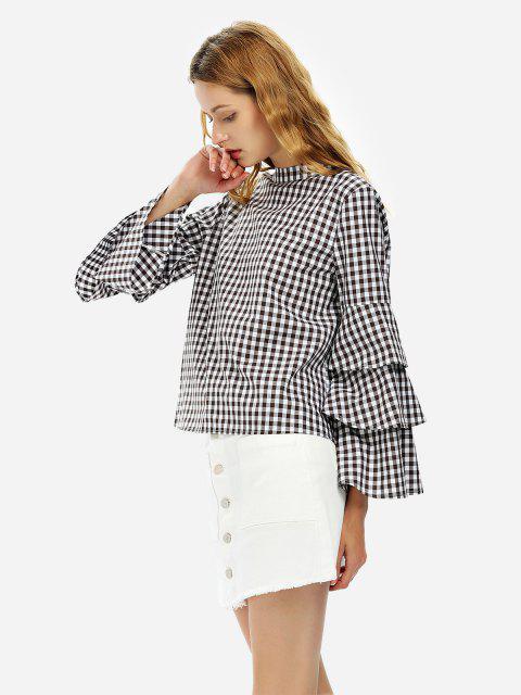 ZAN.STYLE Bell Sleeve Plaid Blouse Shirt - 白和咖啡 M Mobile