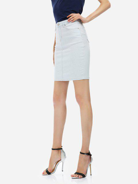 new ZAN.STYLE Pencil Skirt - LIGHT BLUE M Mobile