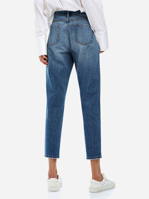 ZANSTYLE Zerrissene Knöchel Jeans - Blau L Mobile