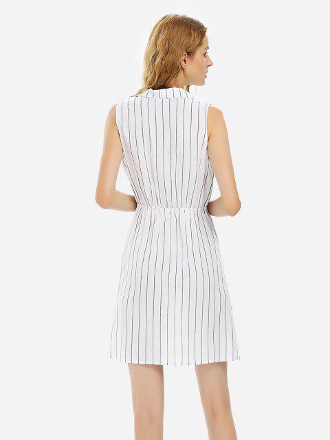 latest ZAN.STYLE Sleeveless Stripe Shirt Dress - WHITE L Mobile