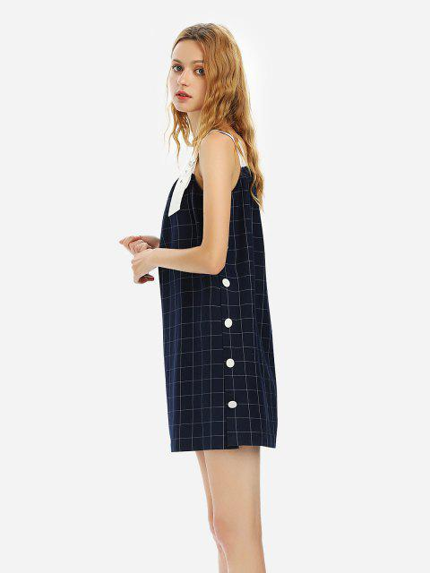 hot ZAN.STYLE Sleeveless Plaid Pattern Dress - PURPLISH BLUE S Mobile