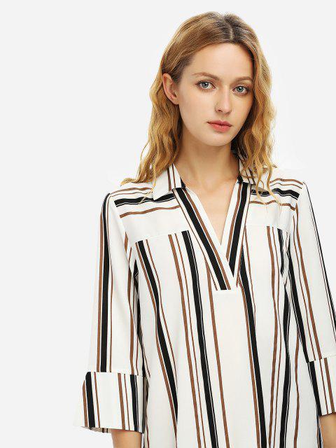 ZANSTYLE V Ausschnitt Shirt Kleid - SCHWARZ WEISS GESTREI XL Mobile