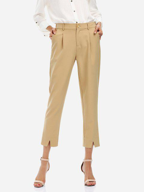 lady ZAN.STYLE Ankle Length Cropped Pants - KHAKI M Mobile